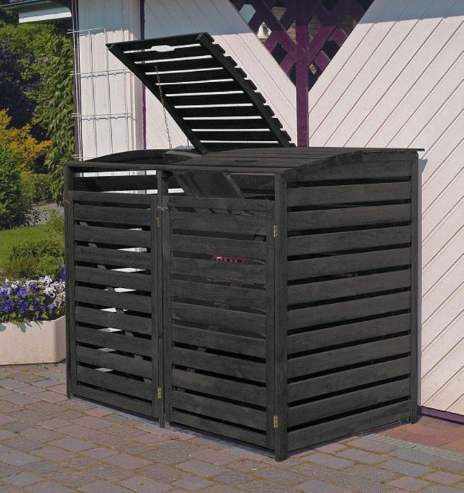 holz sichtschutz promadino vario iii m lltonnenverkleidung f r 2 tonnen holz angebot. Black Bedroom Furniture Sets. Home Design Ideas