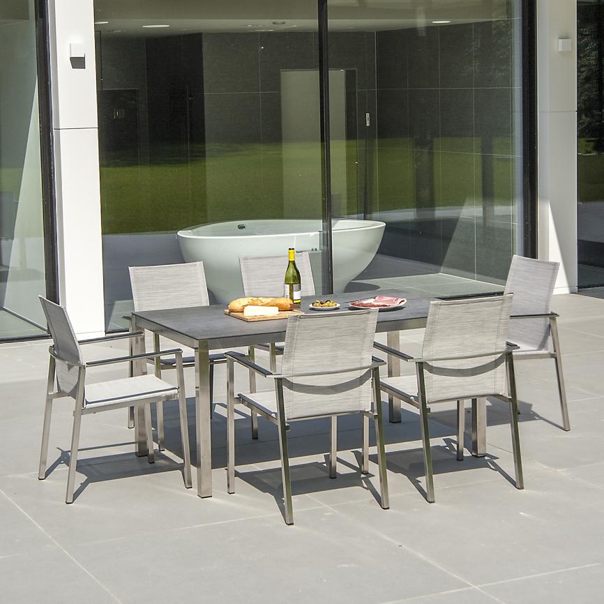 gartenstuhl alexander rose cologne 900 melange grau stapelstuhl edelstahlstuhl gartenm bel. Black Bedroom Furniture Sets. Home Design Ideas