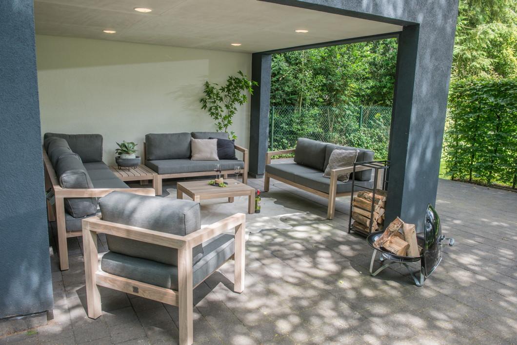 gartenbank 4seasons evora 2 er sofa armlehne rechts teakholz inkl kissen gartenm bel. Black Bedroom Furniture Sets. Home Design Ideas
