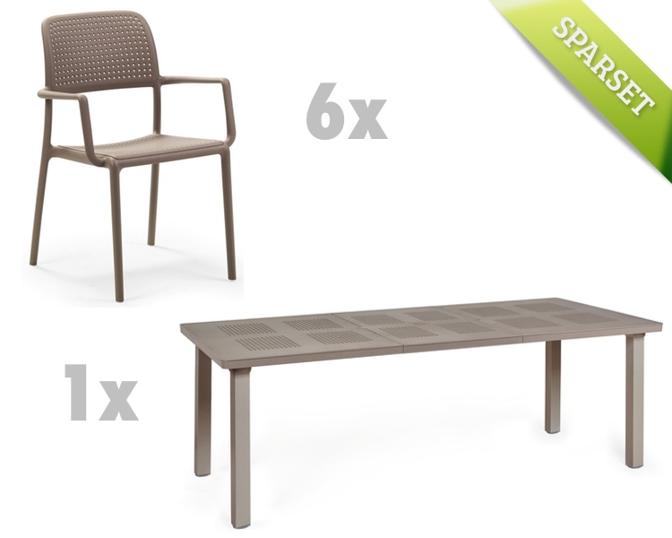 gartenm bel set nardi bora levante taupe set 4 sitzgruppe vom spielger te fachh ndler. Black Bedroom Furniture Sets. Home Design Ideas