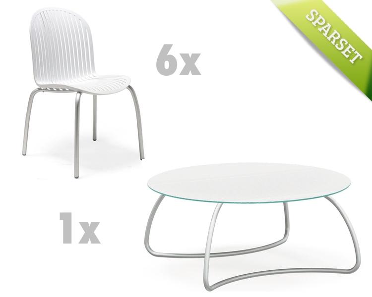 gartenm bel set nardi ninfea loto 170 wei set 6 sitzgruppe gartenm bel fachhandel. Black Bedroom Furniture Sets. Home Design Ideas
