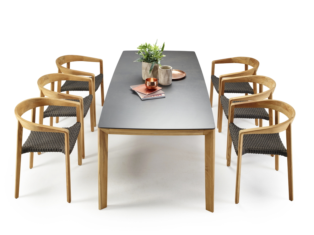 Sitzgruppe Solpuri Lodge Gartenmöbel Set 2 Teakholz Holztisch