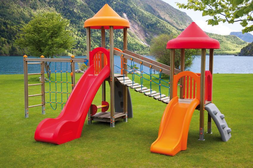 Cool Spielturm Holzhof «Aladin Doppelturm mit Brücke Kletteranbau  TF64
