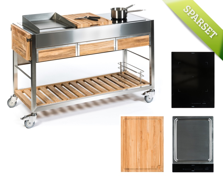 Outdoorküche INDU+ «TomBoy Teak Ultimo +one Zone, Teppanyaki380 + ...