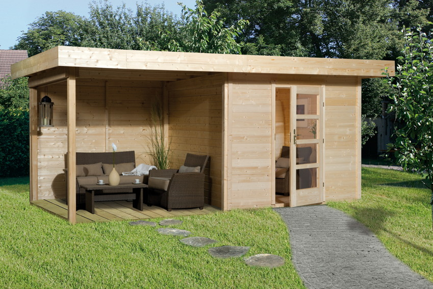 gartenpirat ger tehaus holz mit flachdach typ 2 gartenhaus mit unterstand 387 x 224 cm mwd. Black Bedroom Furniture Sets. Home Design Ideas