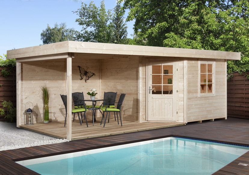Komplett Neu Gartenhaus Flachdach WEKA «Designhaus 213 Größe 1» Fünf-Eck-Holz  BS85