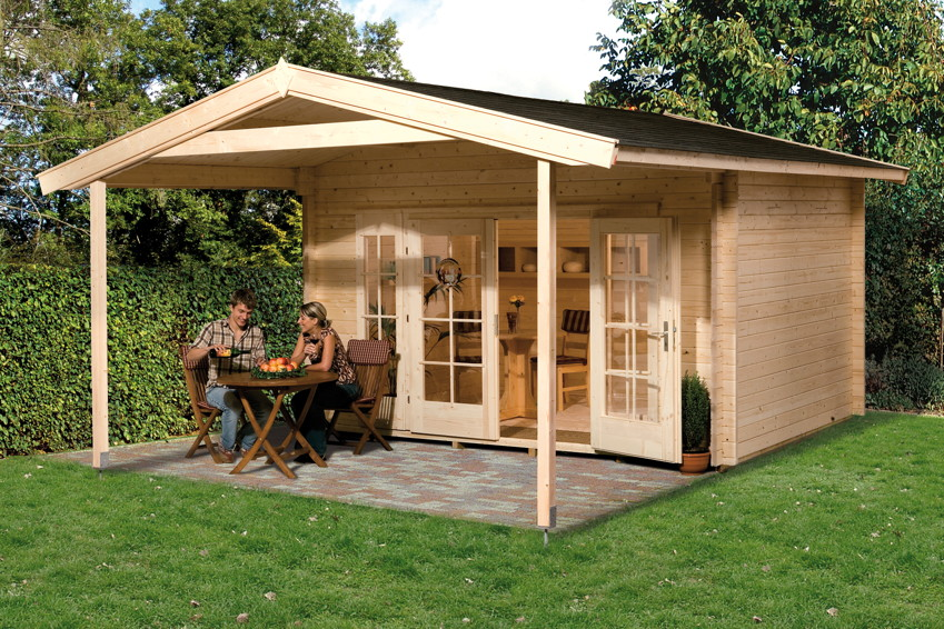 gartenhaus holz mit terrasse. Black Bedroom Furniture Sets. Home Design Ideas