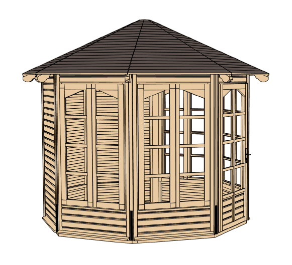 pavillon weka cherie 1 sylt 2 8 eck holz pavillon ebay. Black Bedroom Furniture Sets. Home Design Ideas