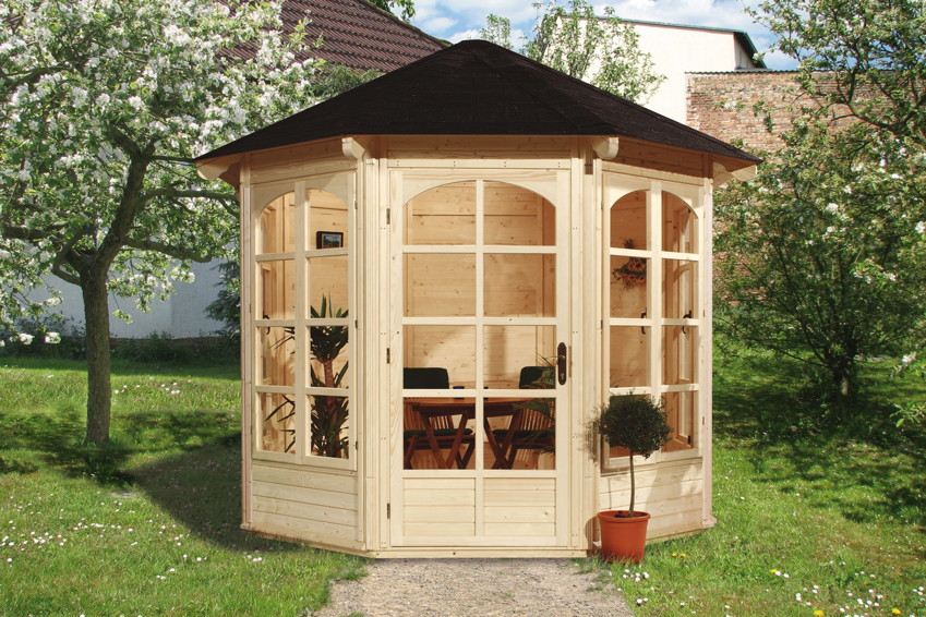 romantischer-holz-pavillon-8-eck-gartenpavillon-3m-mit-panorama-fenster-u-tur-rote-rechteckige-