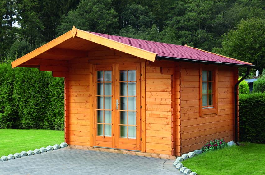 Gartenhaus «300x245cm Holzhaus Bausatz 44mm» Holz Gartenhaus Doppeltür