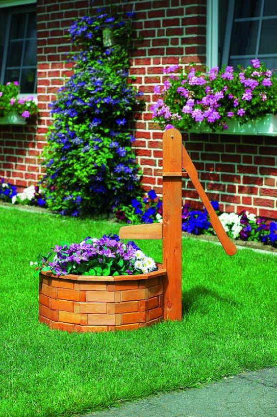 Zierbrunnen promadino holztrog rund pflanzk bel aus holz for Gartendekoration holz